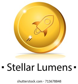 Stellar Lumens. Gold coin with cryptocurrency logo. Vector illustration isolated on white background.