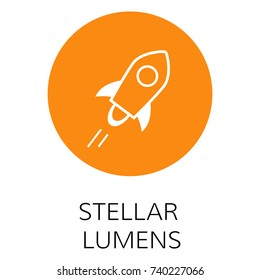 Stellar Lumens vector icon. Cryptocurrency with huge market capitalization. Based on blockchain technologie.