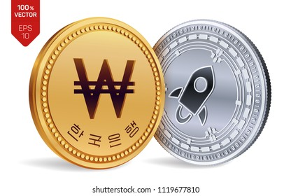 Stellar. Won. 3D isometric Physical coins. Digital currency. Korea Won coin. Cryptocurrency. Golden and silver coins with Stellar and Won symbol isolated on white background. Vector illustration.