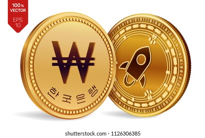 Stellar. Won. 3D isometric Physical coins. Digital currency. Korea Won coin. Cryptocurrency. Golden coins with Stellar and Won symbol isolated on white background. Vector illustration.