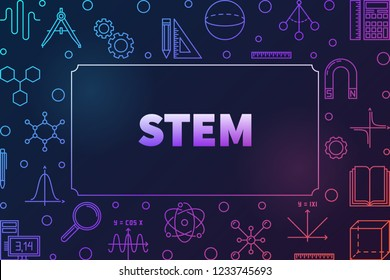 STEM colored horizontal frame with place for your text. Vector education concept illustration in thin line style on dark background