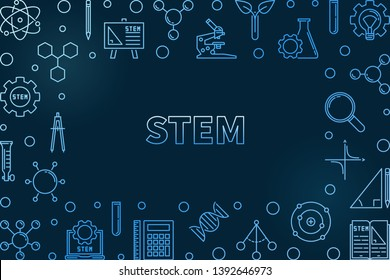 STEM concept horizontal outline blue frame. Vector Science, Technology, Engineering and Mathematics illustration on dark background