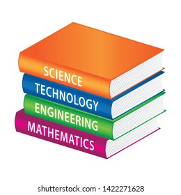 STEM Education subjects. Stack of books. Vector education icon.