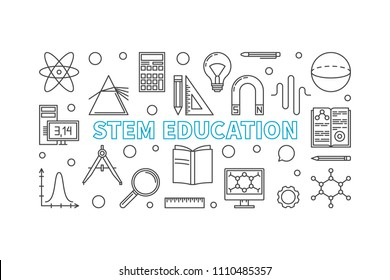 STEM Education vector horizontal banner in thin line style. Science, technology, engineering and mathematics concept illustration