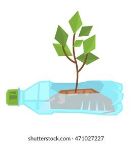 Stem growing in used plastic bottle vector flat design illustration isolated on white background.