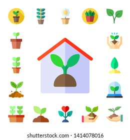 stem icon set. 17 flat stem icons.  Simple modern icons about  - plant, indoor plants, sprout, plants, flower pot