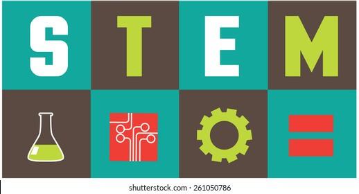 STEM icons flat design. EPS10 vector illustration for advertising, promotion, poster, flier, blog, article, social media, marketing, education