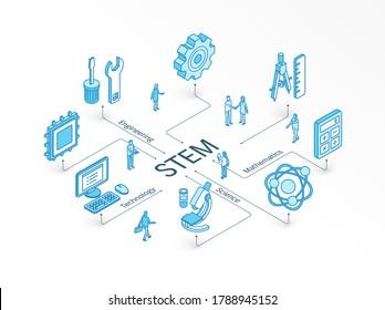 STEM isometrisches Konzept. 3D-Symbole der verbundenen Linie. Integriertes Infografik-Design-System. Die Leute arbeiten miteinander. Wissenschaft, Technologie, Ingenieurwesen, Mathematik-Symbole. Mathematik-Studie, Bildung, Lernpiktogramm