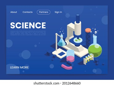 STEM online courses lessons science education program isometric webpage design with electronic microscope chemical tests vector illustration