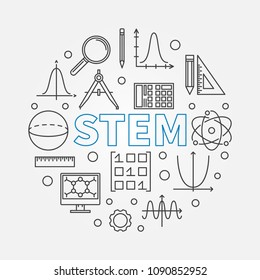 STEM round modern illustration in outline style. Vector science, technology, engineering, math circular linear symbol