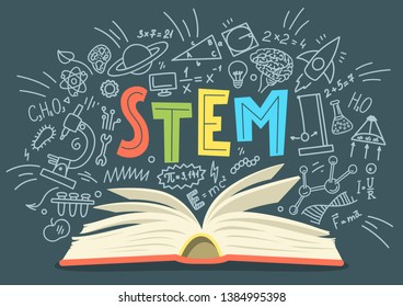 "STEM. Science, technology, engineering, mathematics. Stack of books with science education doodles and hand written word ""STEM"""