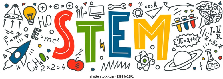 STEM. Science, technology, engineering, mathematics. Science education doodles
