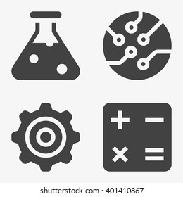 STEM - science, technology, engineering and mathematics Icons in trendy flat style isolated on grey background, for your web site design, app, logo, UI. Vector illustration, EPS10.