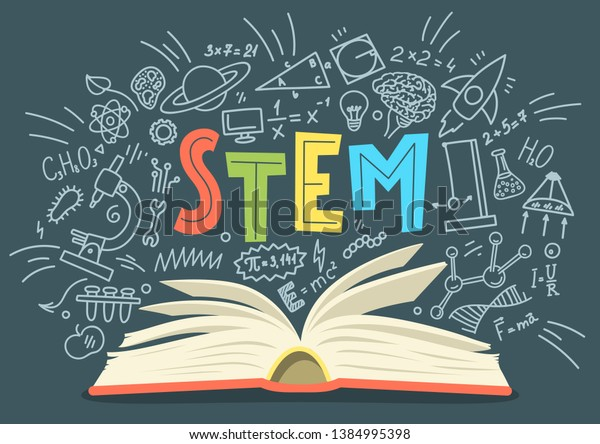 STEM. Science, technology, engineering, mathematics. Stack of books with science education doodles