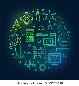 STEM vector colored round minimal illustration in thin line style. Science, technology, engineering and mathematics symbol on dark background