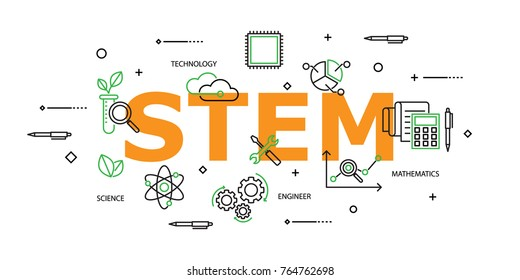 STEM word with Icon Set in Concept of Science,Technology,Engineering and Mathematics. Flat Thin line designed vector illustration on white Background. Editable Stroke.