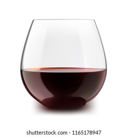Stemless glass with red wine. Vector illustration.