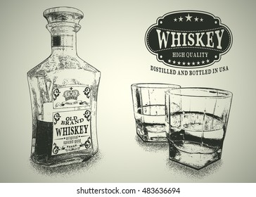 Stemware and bottle with whiskey.Engraving style.Design for advertising of alcohol drink.Vector illustration