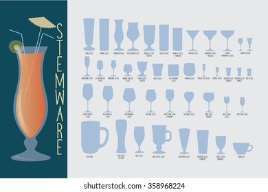Stemware, set of glasses types: cocktail, whiskey, wine, beer and hurricane with umbrella. bartender guide vector