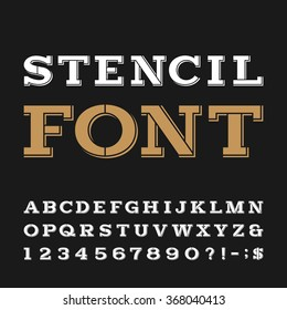 Stencil alphabet font. Serif type letters, numbers and symbols on the dark background. Vector typeface for labels, headlines, posters etc.