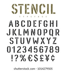 Stencil alphabet with grunge texture effect. Rough imprint stencil-plate font in military style. Vectors
