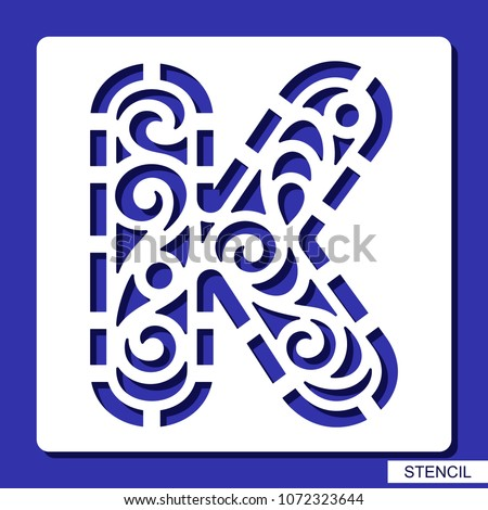 lacy letter k template for laser cutting wood carving