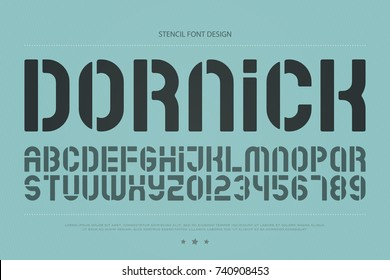 stencil alphabet letters and numbers. vector, geometric font type. regular typeface design. retro, stylish typesetting