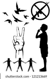 Stencil art set of peace symbol, Vector