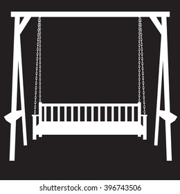 stencil bench swing suspended on chains on a black background