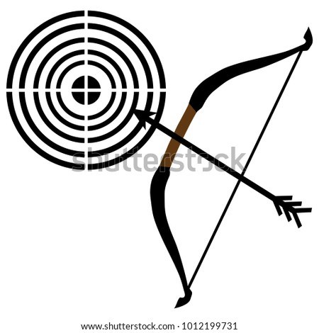 Stencil Bow Arrows Targets Vector Illustration Stock Vector Royalty