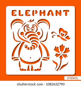 Stencil for children. Elephant, butterfly, flower. Template for laser cutting, wood carving, paper cut and printing. Vector illustration.