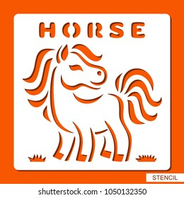 Stencil for children. Horse on the grass. Template for laser cutting, wood carving, paper cut and printing. Vector illustration.