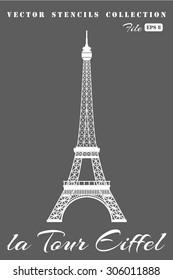 Stencil Eiffel Tower on a gray background.
