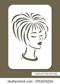 Stencil with the face of a beautiful girl. Head of a woman with short straight hair, closed eyes, long eyelashes. Sign, logo, decoration of a beauty salon, hairdresser. Template for laser plotter cut.