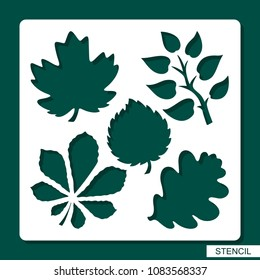 Stencil. Flower theme. Silhouettes of leaves of maple, oak, aspen, chestnut. A template for laser cutting, wood carving, cutting and printing paper. Vector illustration.