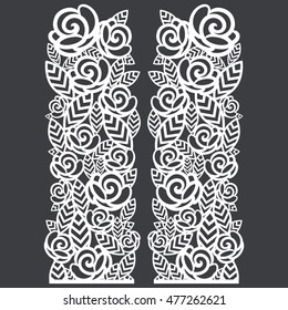 Stencil folding screen column floral roses pattern. For laser cutting.Vector