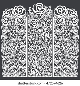 Stencil folding screen floral roses pattern. For laser cutting.Vector