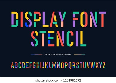 Stencil font. Colorful condensed alphabet and font. Condensed bold uppercase stencil letters. Type, typography letter latin font. Hand-drawn modern narrow font for headline, text. Vector Illustration