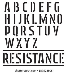 Stencil font. Street art and military type