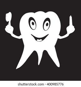 stencil funny tooth with toothbrush and toothpaste in hands