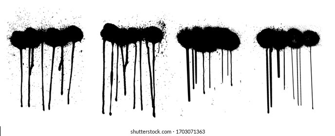 Stencil graffiti spray isolated on white background with black splashes with flowing lines of paint. Street art collection, spray template. Vector illustration