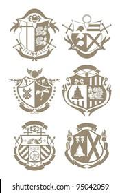 Stencil knightly arms, vector