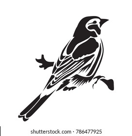 Stencil for laser cutting. Chaffinch. Vector bird isolated on white background. Black and white logo, sign, emblem, symbol. Stamp. Simple illustration. Sketch. Die cut. Laser cut template