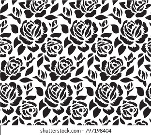 Stencil for laser cutting. Floral seamless pattern with roses. Simple wild flower for background, texture, wrapper pattern, frame or border. Die cut template.