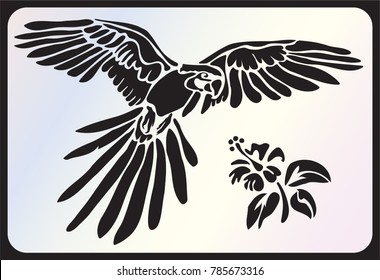 Stencil for laser cutting. Parrot, macaw and hibiscus flower. Vector tropical flying bird on white background. Black and white logo, sign, emblem, symbol. Stamp. Simple illustration. Sketch. Die cut.