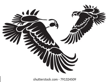 Stencil for laser cutting. Parrot, macaw ara. Vector tropical flying bird on white background. Black and white logo, sign, emblem, symbol. Stamp. Simple vector illustration. Sketch. Die cut.