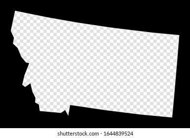 Stencil map of Montana. Simple and minimal transparent map of Montana. Black rectangle with cut shape of the us state. Authentic vector illustration.