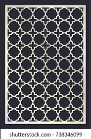 Stencil. Moroccan trellis. Laser cut vector panel. Die cut card. Cutout silhouette with geometric pattern. A picture suitable for printing, engraving, laser cutting paper, wood, metal.