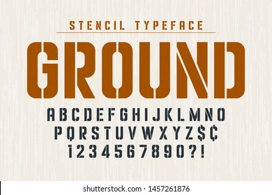 Stencil original condensed alphabet, creative characters set. Vector illustration