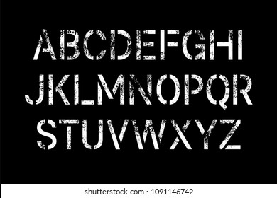 Stencil pattern latin typeface, editable font with all uppercase letters with grunge texture